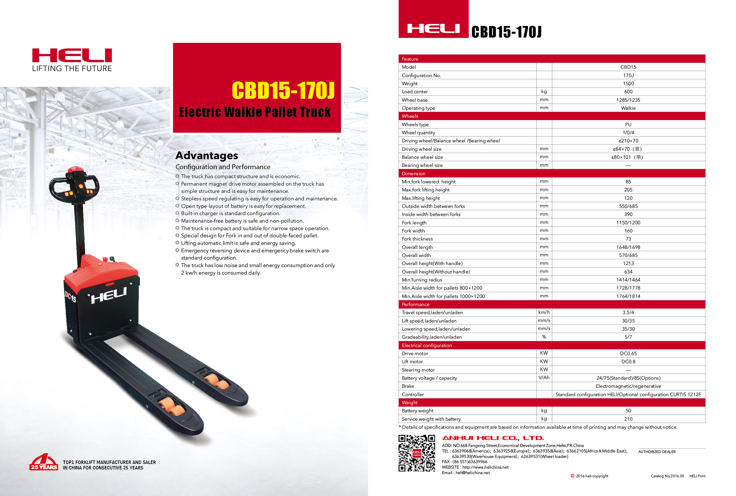 Xe nâng điện thấp CBD15-170J Heli