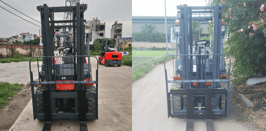 Xe nâng chui container: Khung thường 3m và khung chui container 3m